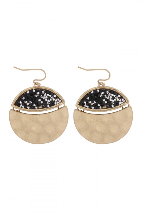 A2-3-5-AMYE1193MG GOLD BLACK FACETED GLITTERY ROUND DANGLE HOOK EARRINGS/6PAIRS
