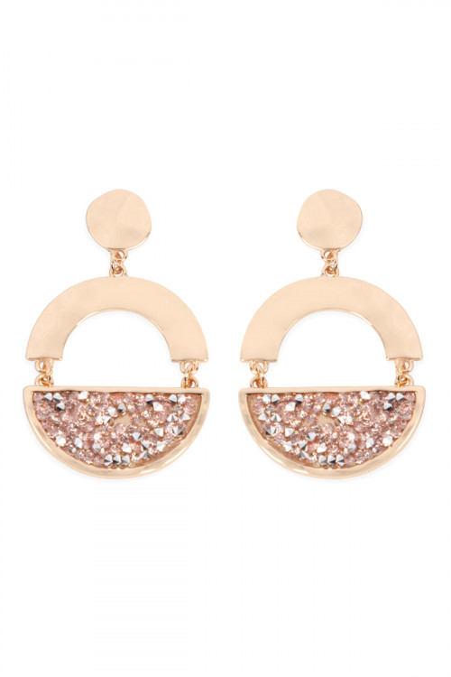 A1-3-5-AMYE1194G GOLD PEACH FACETED HALF CIRCLE DANGLE POST EARRINGS/6PAIRS