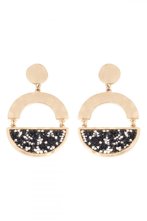 A1-3-5-AMYE1194MG MATTE GOLD BLACK FACETED HALF CIRCLE DANGLE POST EARRINGS/6PAIRS