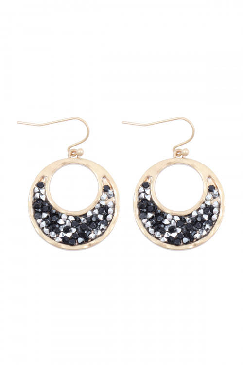 A1-3-5-AMYE1198MG MATTE GOLD BLACK OPEN ROUND GLITTER FACETED DANGLE HOOK EARRINGS/6PAIRS