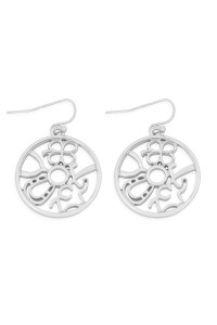 S24-6-1-MYE1215R SILVER ROUND CAST DANGLE HOOK EARRINGS/6PAIRS