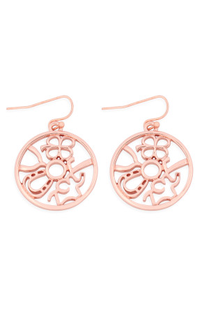 S24-6-1-MYE1215RG ROSE GOLD ROUND CAST DANGLE HOOK EARRINGS/6PAIRS