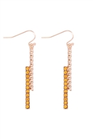S22-1-2-MYE1236LTP - TWIST & STRAIGHT BAR RHINESTONE DROP EARRING-TOPAZ/6PCS