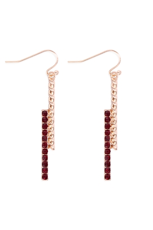 S22-1-2-MYE1236RD - TWIST & STRAIGHT BAR RHINESTONE DROP EARRING-RED/6PCS