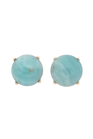 S22-9-5-MYE1243AMZ-FACETED NATURAL STONE POST EARRINGS-AMAZONITE/6PAIRS