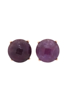 S22-9-5-MYE1243ATS-FACETED NATURAL STONE POST EARRINGS-PURPLE/6PAIRS