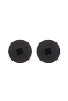 S22-9-5-MYE1243BK-FACETED NATURAL STONE POST EARRINGS-BLACK/6PAIRS