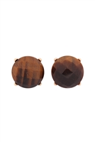 S22-9-5-MYE1243BR-FACETED NATURAL STONE POST EARRINGS-BROWN/6PAIRS