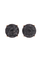 S22-9-5-MYE1243GY-FACETED NATURAL STONE POST EARRINGS-GRAY/6PAIRS