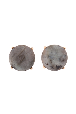 S22-9-5-MYE1243LAB-FACETED NATURAL STONE POST EARRINGS-LIGHT GRAY/6PAIRS
