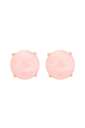 S22-9-5-MYE1243PK-FACETED NATURAL STONE POST EARRINGS-PINK/6PAIRS