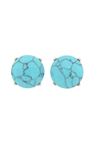 S22-9-5-MYE1243TQ-FACETED NATURAL STONE POST EARRINGS-TURQUOISE/6PAIRS