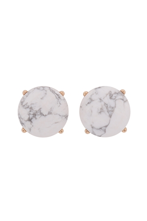 S22-9-5-MYE1243WH-FACETED NATURAL STONE POST EARRINGS-WHITE/6PAIRS