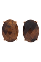 S22-9-5-MYE1244BR-FACETED OVAL STONE POST EARRINGS-BROWN/6PCS