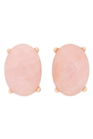 S22-9-5-MYE1244PK-FACETED OVAL STONE POST EARRINGS-PINK/6PCS