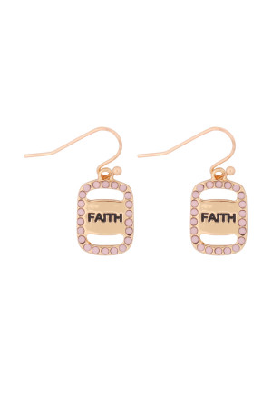 S21-11-4-MYE1263GPK-FAITH ETCHED DROP  EARRINGS-PINK/6PCS