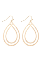 S22-11-3-MYE1271WG-DOUBLE OPEN TEARDROP EARRINGS-GOLD/6PCS