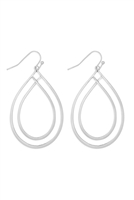 S22-11-3-MYE1271WS-DOUBLE OPEN TEARDROP EARRINGS-SILVER/6PCS