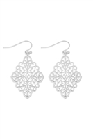 S21-11-4-MYE1272WS-MOROCCAN FILIGREE DROP EARRINGS-SILVER/6PCS
