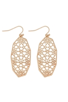 S21-11-3-MYE1273WG-POLYGONAL FILIGREE DROP EARRINGS-GOLD/6PCS
