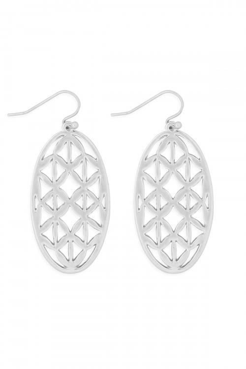 S21-11-3-MYE1274WS-OVAL FILIGREE DROP EARRINGS-SILVER/6PCS