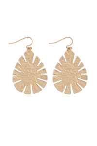 S21-11-4-MYE1281WG-CAST LEAF SHAPE DROP EARRINGS-GOLD/6PAIRS