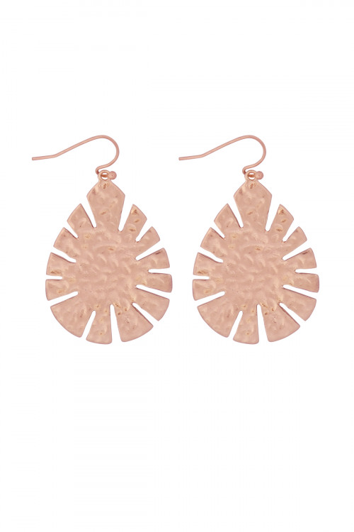 S21-11-4-MYE1281WRG-CAST LEAF SHAPE DROP EARRINGS-ROSE GOLD/6PAIRS