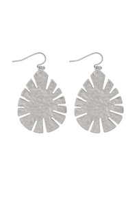 S21-11-4-MYE1281WS-CAST LEAF SHAPE DROP EARRINGS-SILVER/6PAIRS