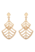 S22-11-2-MYE1285GD-LEAF FILIGREE DROP EARRINGS-GOLD/6PAIRS