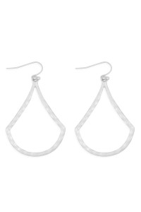 S21-12-4-MYE1286MS-HAMMERED DROP EARRINGS-SILVER/6PAIRS
