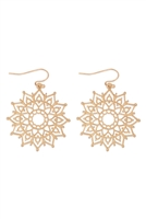 S22-11-2-MYE1288WG-FILIGREE MANDALA DROP EARRINGS-GOLD/6PAIRS