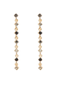 S22-9-4-MYE1293BK-GLASS STONE LARIAT EARRINGS-BLACK /6PAIRS