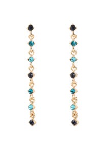 S22-9-4-MYE1293BL-GLASS STONE LARIAT EARRINGS-BLUE/6PAIRS