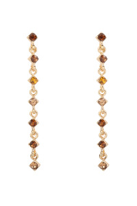 S22-9-4-MYE1293BR-GLASS STONE LARIAT EARRINGS-BROWN/6PAIRS