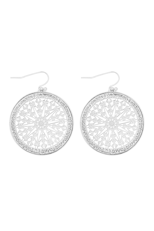 S23-12-3-MYE1328R-MANDALA FILIGREE DROP EARRINGS-SILVER/6PAIRS