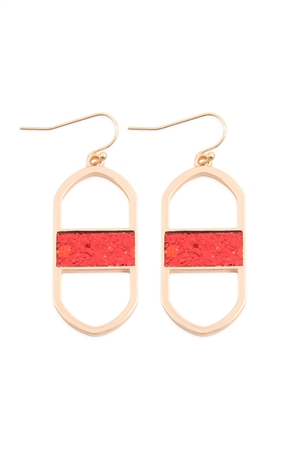 S17-5-2-MYE1376GRD-OVAL DROP EARRINGS-GOLD RED/6PAIRS