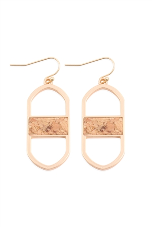 S18-3-4-MYE1376MGBR-OVAL DROP EARRINGS-MATTE GOLD BROWN/6PAIRS