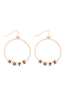 S29-3-1-MYE1399MGHP-HOPE CHARM HOOP DROP EARRINGS-MATTE GOLD/6PAIRS