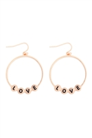 S29-3-1-MYE1399MGLO-LOVE CHARM HOOP DROP EARRINGS-MATTE GOLD/6PAIRS