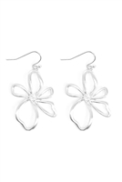 S29-2-1-MYE1401BGSL-WIRE FLOWER DROP EARRINGS-SILVER/6PAIRS