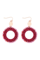S27-7-2-MYE1408RD-GLASS BEADED WOOD HOOP DROP EARRINGS-RED/6PAIRS