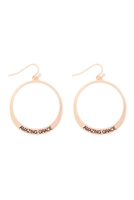 S29-2-2-MYE1412MGAMZ-AMAZING GRACE PINCHED HOOP DROP EARRINGS-MATTE GOLD/6PAIRS