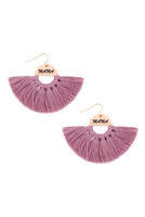 S29-2-1-MYE1418PU-MAMA ETCHED FAN TASSEL EARRINGS-PURPLE/6PAIRS