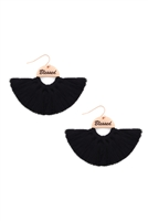 S29-2-3-MYE1419BK-BLESSED ETCHED FAN TASSEL EARRINGS-BLACK/6PAIRS