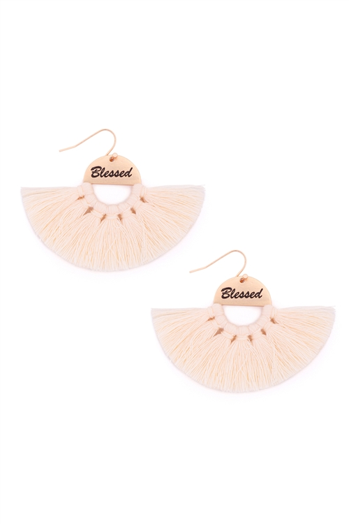 S29-2-3-MYE1419IV-BLESSED ETCHED FAN TASSEL EARRINGS-IVORY/6PAIRS
