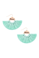 S29-2-3-MYE1419MIN-BLESSED ETCHED FAN TASSEL EARRINGS-MINT/6PAIRS