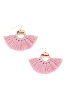 S29-2-3-MYE1419PK-BLESSED ETCHED FAN TASSEL EARRINGS-PINK/6PAIRS
