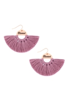 S29-2-3-MYE1419PU-BLESSED ETCHED FAN TASSEL EARRINGS-PURPLE/6PAIRS