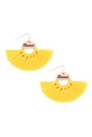 S29-2-3-MYE1419YW-BLESSED ETCHED FAN TASSEL EARRINGS-YELLOW/6PAIRS