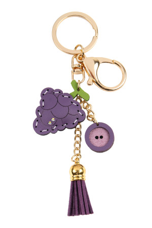 S7-5-3-AMYK1001GRA GRAPES LEATHER CHARM KEYCHAIN/6PCS